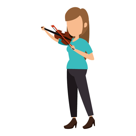 woman playing fiddle character vector illustration design Ilustracja