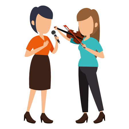 women singing with microphone and playing fiddle vector illustration Illustration