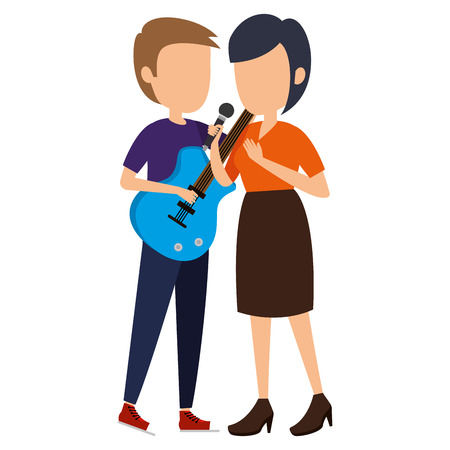woman singing and man playing guitar vector illustration design Illustration