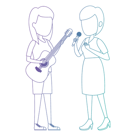 women singing with microphone and playing guitar vector illustration Фото со стока - 111929053