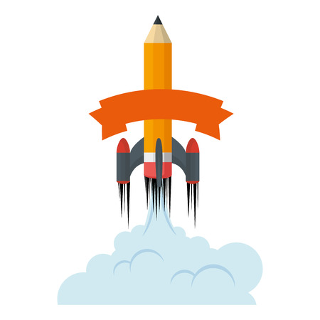 pencil rocket start up with smoke vector illustration design