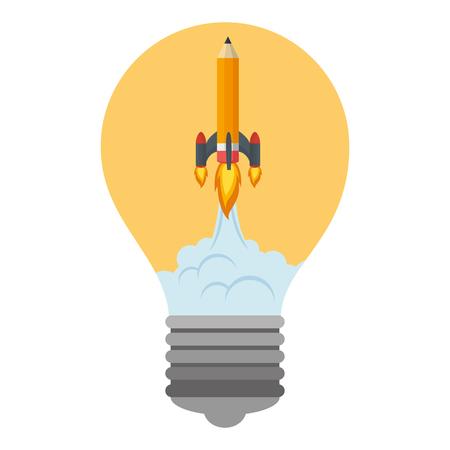 pencil rocket start up in bulb vector illustration design Ilustração