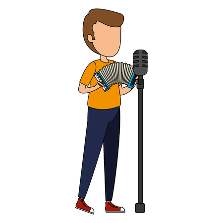 man singing and playing accordion vector illustration design Banque d'images - 106566548