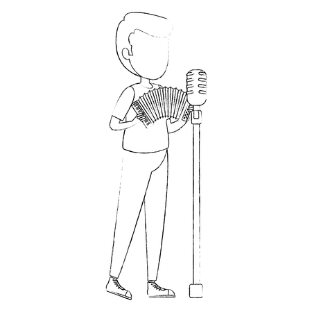 man singing and playing accordion vector illustration design Banque d'images - 111929085