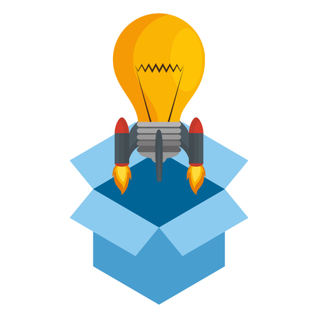 bulb rocket launcher in box vector illustration design Stock Illustratie