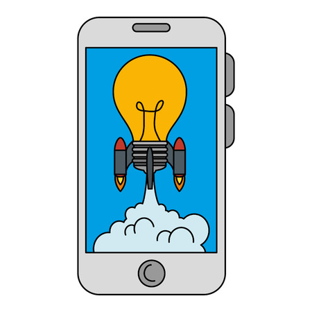 bulb rocket launcher in smartphone vector illustration design