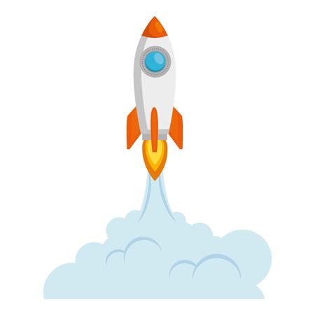 Arranque del cohete con humo, diseño de ilustraciones vectoriales Ilustración de vector