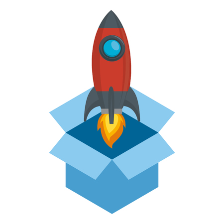 rocket start up in box vector illustration design