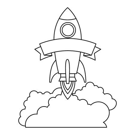 rocket start up with smoke vector illustration design