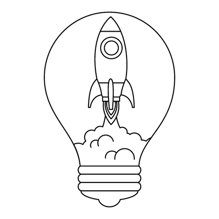 rocket start up in bulb vector illustration design