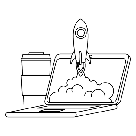 rocket start up in laptop with coffee vector illustration design