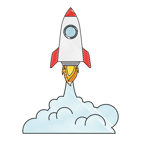 rocket start up with smoke vector illustration design 版權商用圖片 - 111929178