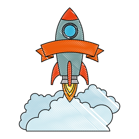 rocket start up with smoke vector illustration design 写真素材 - 106567175