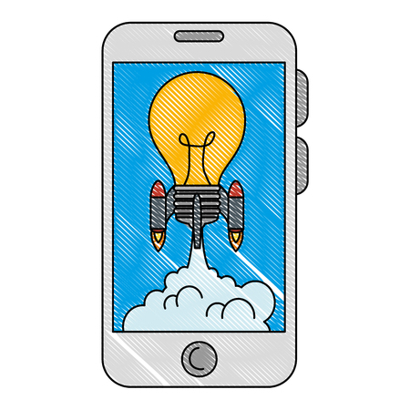 bulb rocket launcher in smartphone vector illustration design