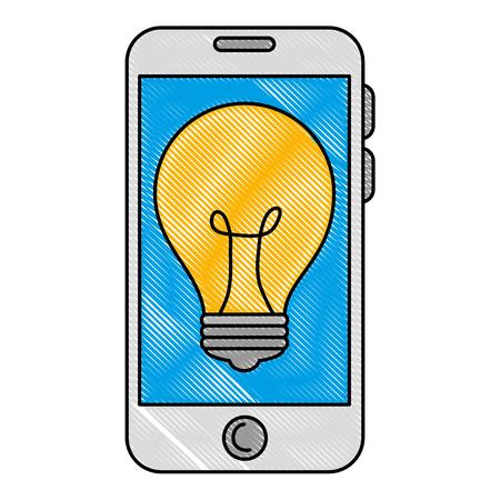 smartphone with bulb light vector illustration design 일러스트
