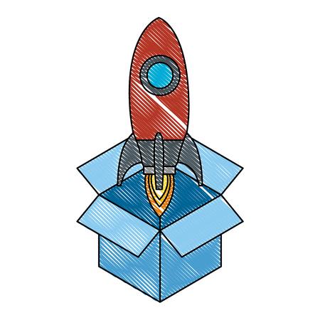 rocket start up in box vector illustration design