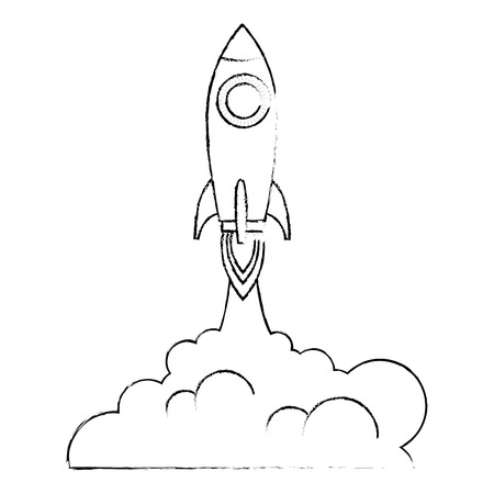 rocket start up with smoke vector illustration design 版權商用圖片 - 111929227