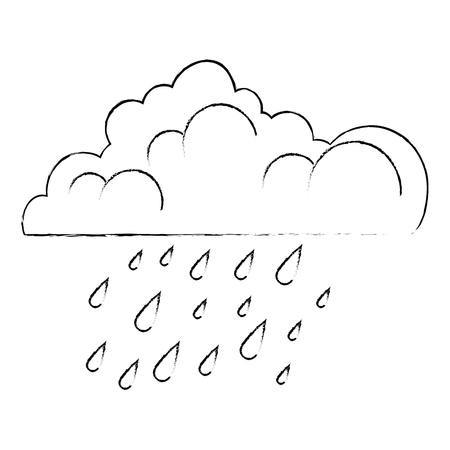 cloud with rain drops vector illustration design Иллюстрация