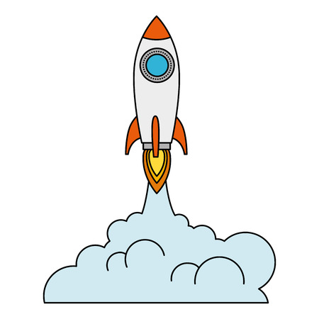 rocket start up with smoke vector illustration design 版權商用圖片 - 111929233