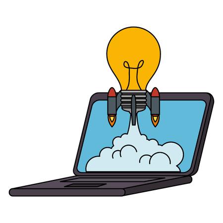 bulb rocket launcher in laptop vector illustration design