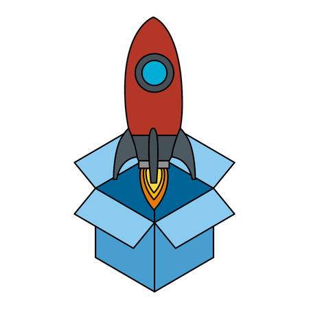 raket opstarten in ontwerp van de doos het vectorillustratie