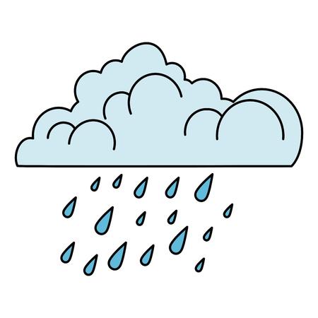 nuage avec des gouttes de pluie vector illustration design