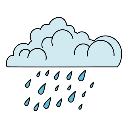 nuvola con disegno di illustrazione vettoriale di gocce di pioggia