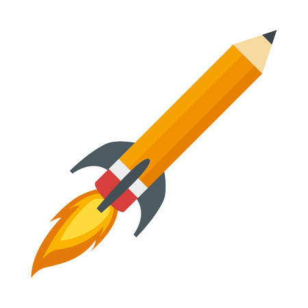 pencil rocket start up vector illustration design Ilustração