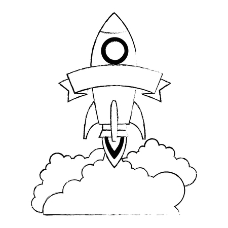 rocket start up with smoke vector illustration design 版權商用圖片 - 111929298
