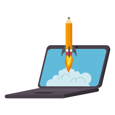 pencil rocket start up in laptop vector illustration design Illustration