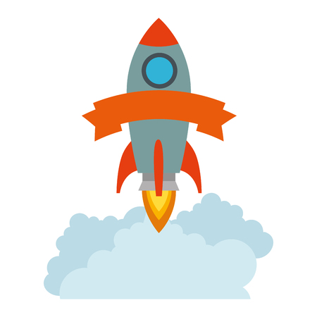 rocket start up with smoke vector illustration design 写真素材 - 106572234