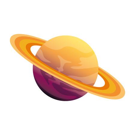 Universo planeta saturno espacio icono diseño ilustración vectorial