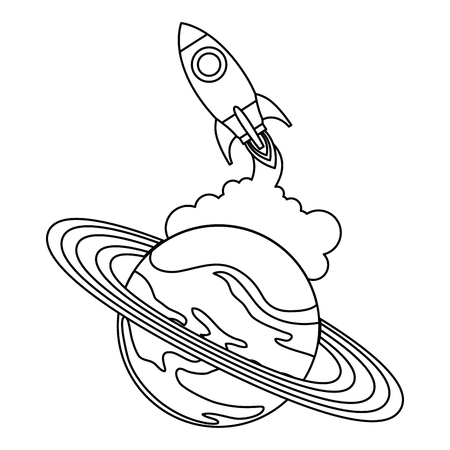 universe planet saturn with rocket flying vector illustration design