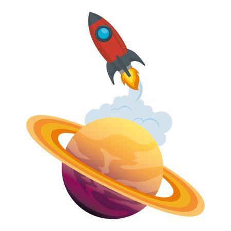 universe planet saturn with rocket flying vector illustration design Stock Illustration - 106608807