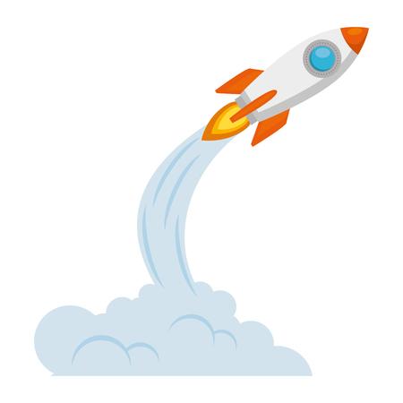 démarrage de la fusée avec la conception d & # 39; illustration vectorielle fumée