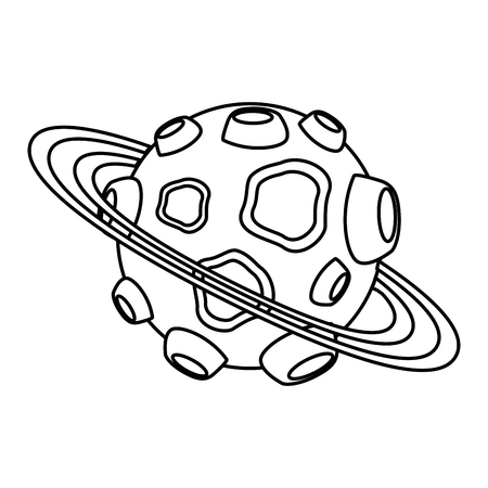 universe planet with craters and rings vector illustration design 向量圖像