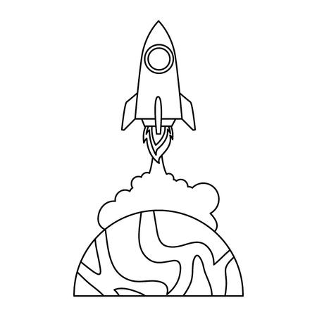 universe planet with rocket flying vector illustration design