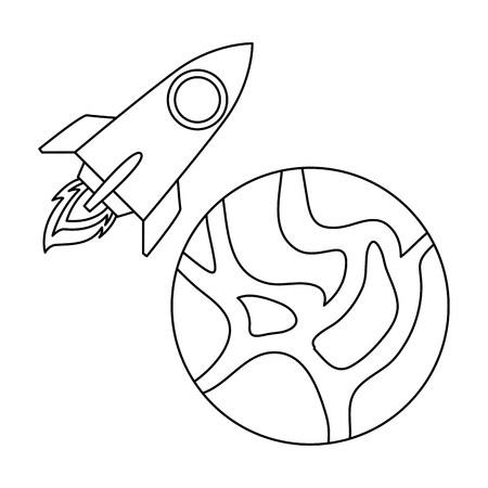universe planet with rocket flying vector illustration design