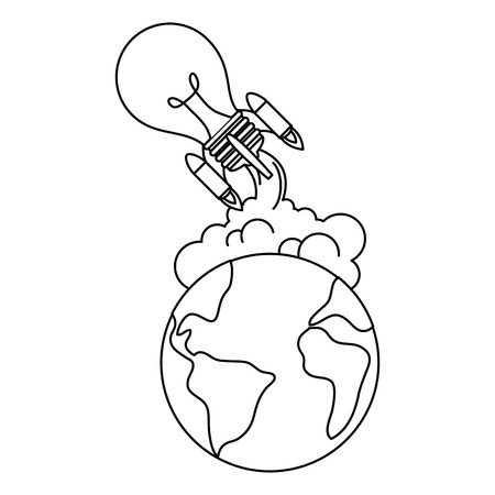world planet earth with bulb rocket flying vector illustration design