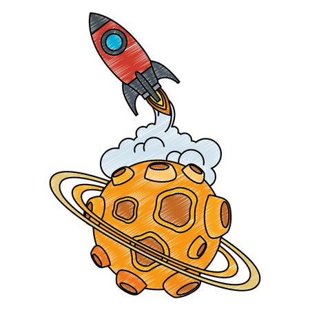 universe planet with craters and rocket flying vector illustration design Stock Vector - 111929367
