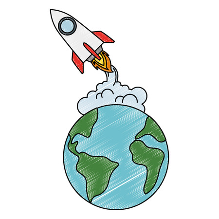 world planet earth with rocket flying vector illustration design