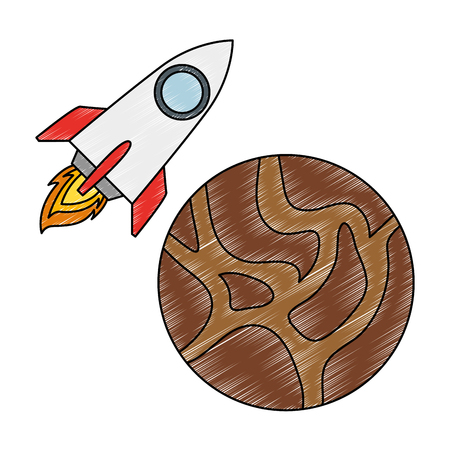 universe planet with rocket flying vector illustration design Reklamní fotografie - 111929387