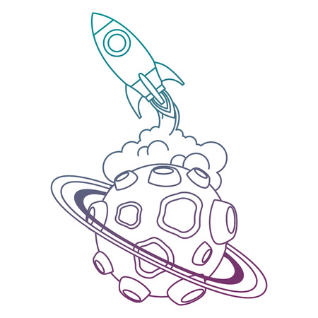 universe planet with craters and rocket flying vector illustration design