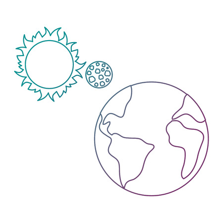 world planet earth with sun and moon vector illustration design Иллюстрация