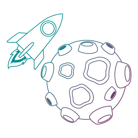 asteroid with craters and rocket flying vector illustration design