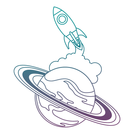universe planet saturn with rocket flying vector illustration design Stock Vector - 111929406