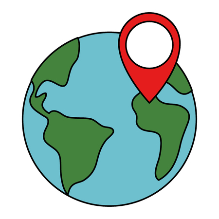 world planet earth with pin location vector illustration design