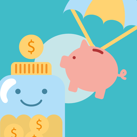 piggy bank flying jar with coins charity vector illustration