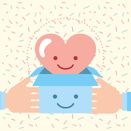 hands holding box with love heart charity donation vector illustration