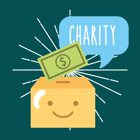kawaii box banknote money cartoon donate charity vector illustration